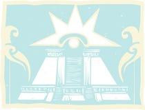 Pirámide doble maya con Venus Eye Glyph Fotografía de archivo