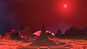 Pirámide, luna rosada y UFO stock de ilustración