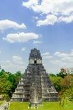 Pirámide maya por Tikal en Guatemala Imágenes de archivo libres de regalías