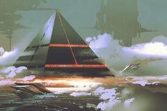 Pirámide negra futurista que flota sobre superficie de tierra