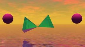 Pirámide y bolas Imágenes de archivo libres de regalías