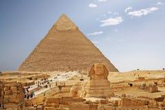 Pirámide y esfinge de Egipto Foto de archivo