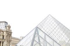 Pirámides de cristal del Louvre - vista lateral Imagenes de archivo