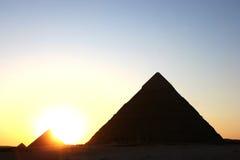 Pirámides de la puesta del sol Foto de archivo libre de regalías