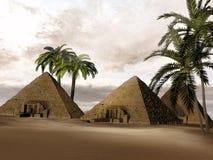 Pirámides del egipcio de la fantasía ilustración del vector