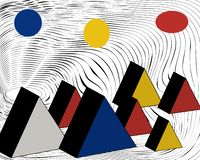 Pirámides egipcias El vector, abstracción coloreó triángulos stock de ilustración