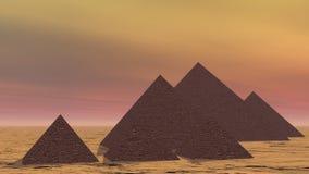 Pirámides en Egipto - 3D rinden ilustración del vector
