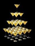 pirâmide 3D de vidros do champanhe ilustração do vetor