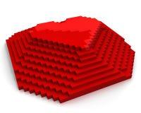 Pirâmide com coração na parte superior feita de pixéis cúbicos vermelhos Imagem de Stock Royalty Free