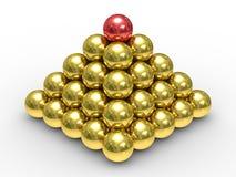 Pirâmide das esferas do metal em um fundo branco ilustração stock