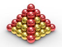 Pirâmide das esferas do metal em um fundo branco ilustração royalty free