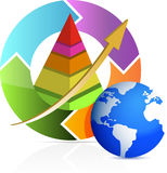 Pirâmide do negócio na ilustração do ciclo da seta Fotografia de Stock