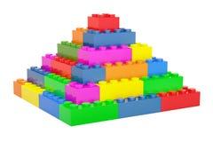 Pirâmide dos blocos de apartamentos plásticos, 3D ilustração royalty free