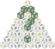 Pirâmide dos dados do dinheiro Fotografia de Stock Royalty Free