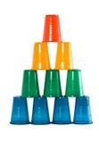 Pirâmide dos vidros plásticos multi-coloured Fotos de Stock Royalty Free
