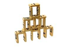 Pirâmide feita de telhas do dominó Fotos de Stock