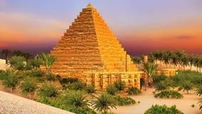 Pirâmide na rendição dos oásis 3d de Sahara ilustração do vetor