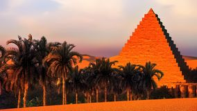 Pirâmide na rendição dos oásis 3d de Sahara ilustração stock