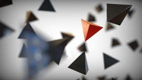 Pirâmide vermelha diferente entre pretos ilustração do vetor
