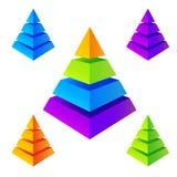 Pirâmides coloridas isométricas do vetor ajustadas Imagem de Stock Royalty Free