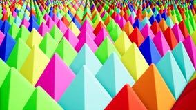 Pirâmides coloridas modernas, grande projeto para algumas finalidades Teste padrão da tecnologia Fundo abstrato verde Triângulo a ilustração do vetor
