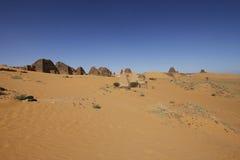 Pirâmides das réguas de Kushite em Meroe Fotos de Stock Royalty Free