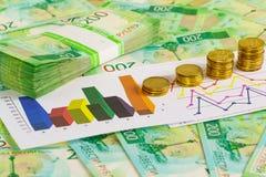 Pirâmides de moedas de ouro na carta e em uma pilha de contas novas de dois-rublo fotos de stock royalty free
