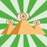Pirâmides egípcias com um olho Três pirâmides egípcias ilustração stock