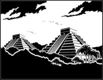 Pirâmides maias na selva ilustração royalty free