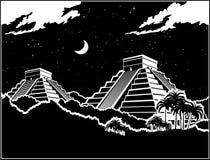 Pirâmides maias na selva na noite ilustração stock