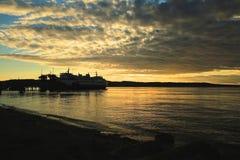 Pir för solnedgångWashington Park fartyg Arkivfoto