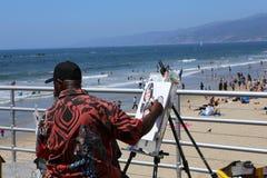 Pir på den Santa Monica stranden, Kalifornien Arkivfoton