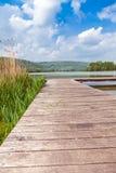 Pir på sjön Echternach i Luxembourg Fotografering för Bildbyråer