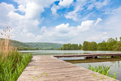 Pir på sjön Echternach i Luxembourg Royaltyfri Foto