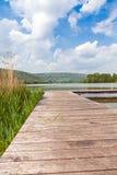 Pir på sjön Echternach i Luxembourg Royaltyfria Foton