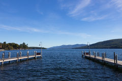 Pir på sjön George, NY, USA Fotografering för Bildbyråer