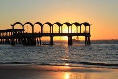Pir på solnedgången Arkivfoton