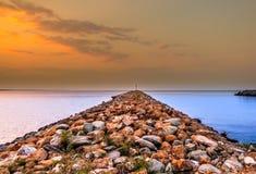 Pir på solnedgången Royaltyfri Bild