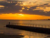 Pir på solnedgången Royaltyfri Foto
