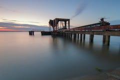 Pir på Tagus River Royaltyfria Bilder