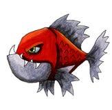 Piraña roja enojada stock de ilustración