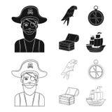 Piraat, bandiet, hoed, verband De piraten geplaatst inzamelingspictogrammen in zwarte, schetsen Web van de de voorraadillustratie stock illustratie