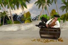 Piraat die bovenop Zijn Geplunderde Schatillustratie rusten Stock Afbeelding