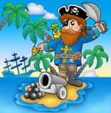 Piraat die van kanon ontspruit Stock Afbeelding