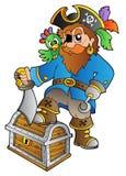 Piraat die zich op schatborst bevindt Stock Afbeelding