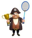 Piraat met Badminton & winnende kop vector illustratie