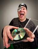 Piraat met computerschijf Stock Fotografie