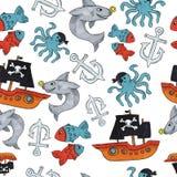 Piraat naadloos patroon kleurrijke voorwerpen die achtergrond voor Web en drukdoel herhalen stock foto