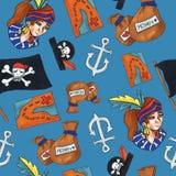 Piraat naadloos patroon kleurrijke voorwerpen die achtergrond voor Web en drukdoel herhalen vector illustratie