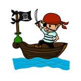 Piraat op boot in het overzees Stock Foto's